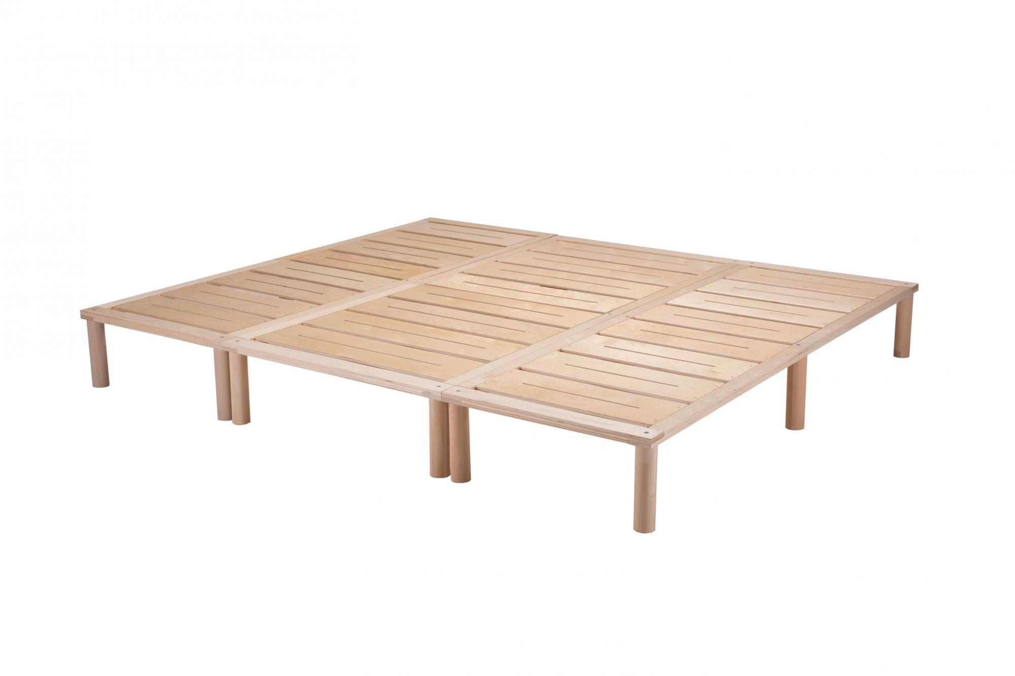 Gigapur G1 29753 Bett | Co-Sleeping | Birke Natur Schicht-Holz | Bettrahmen belastbar bis 195 kg | 230 x 200 cm (2 x 70 x 200 cm + 1 x 90 x 200 cm)