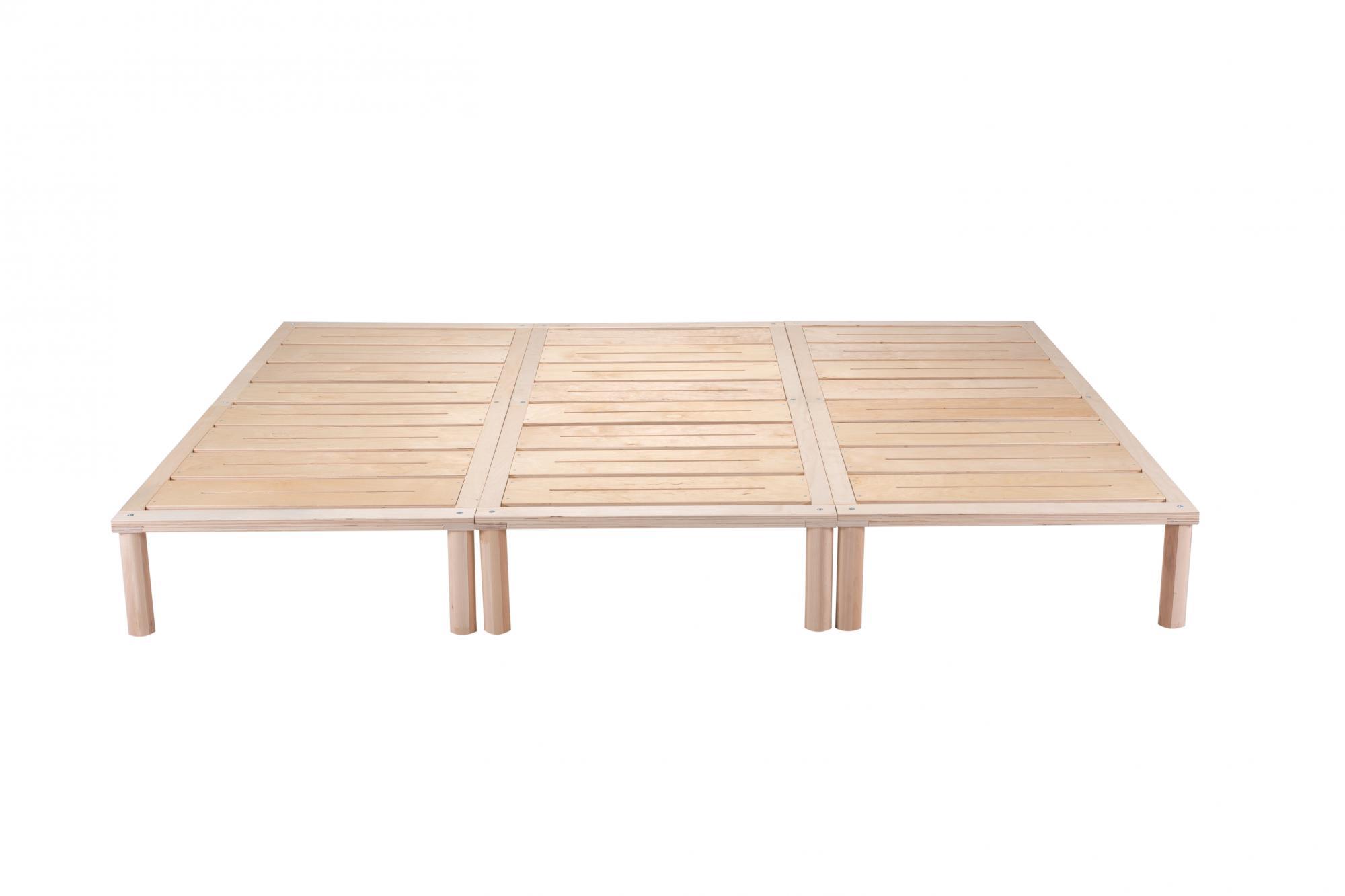 Gigapur G1 28992 Bett | Co-Sleeping | Birke Natur Schicht-Holz | Bettrahmen belastbar bis 195 Kg | 240 x 200 cm (3 x 80 x 200 cm)