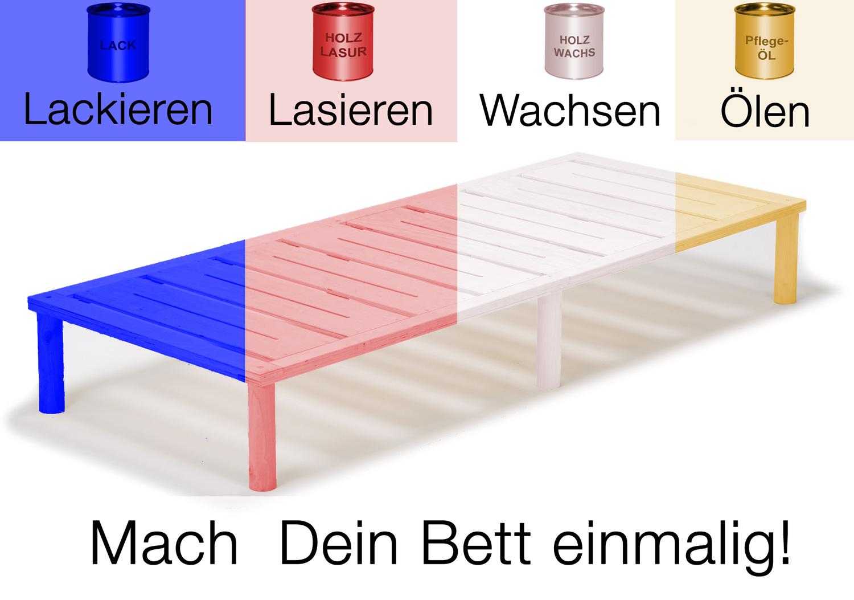 Gigapur G1 29807 Bett | Co-Sleeping | Birke Natur Schicht-Holz | Bettrahmen belastbar bis 195 kg | 300 x 200 cm (3 x 100 x 200 cm)