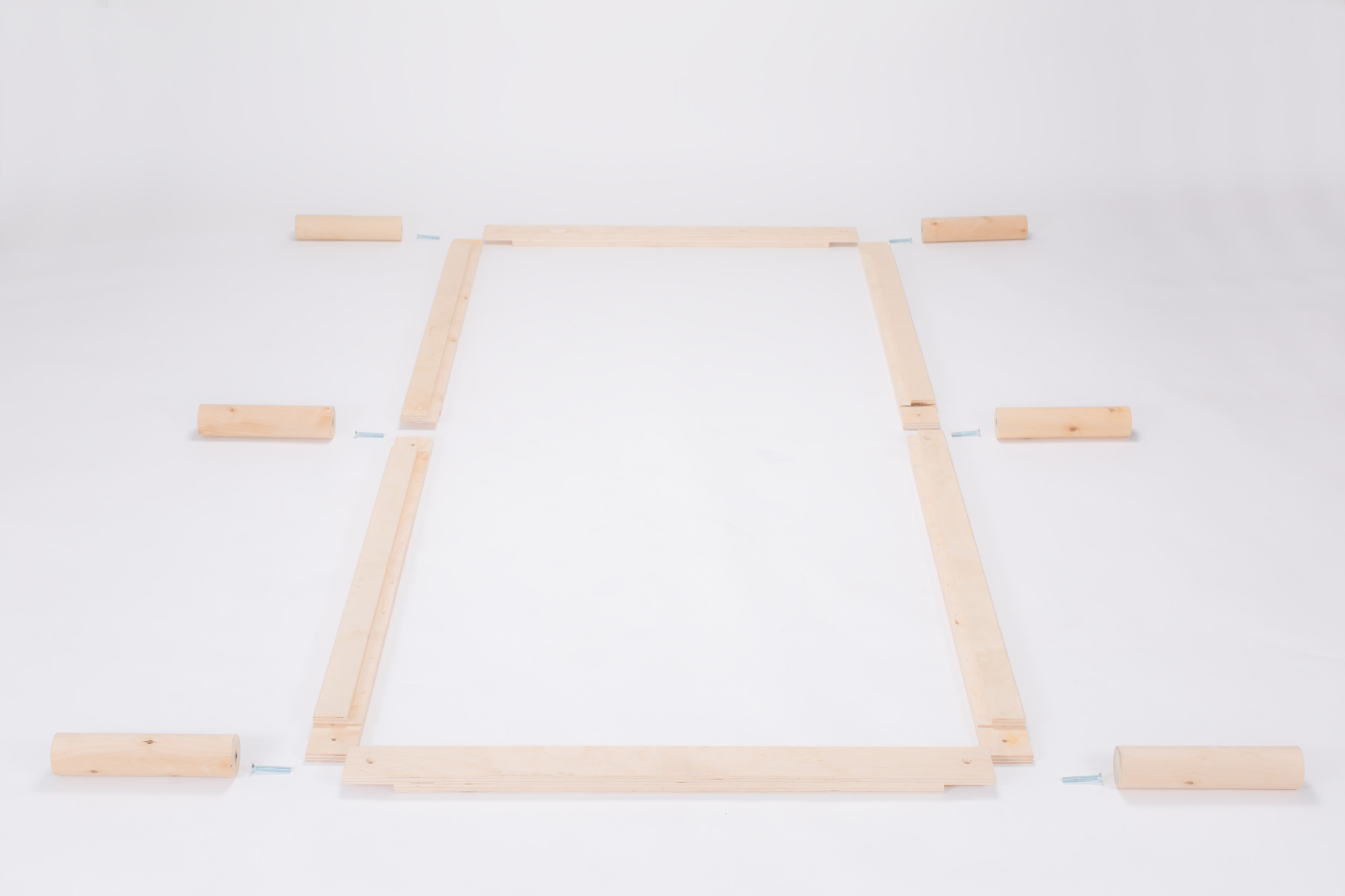 Gigapur G1 29722 Bett | Lattenrost und Bettgestell | Birke Natur Schicht-Holz | Bettrahmen belastbar bis 195Kg | 190 x 200 cm (1 x 90 x 200 cm + 1 x 100 x 200 cm)