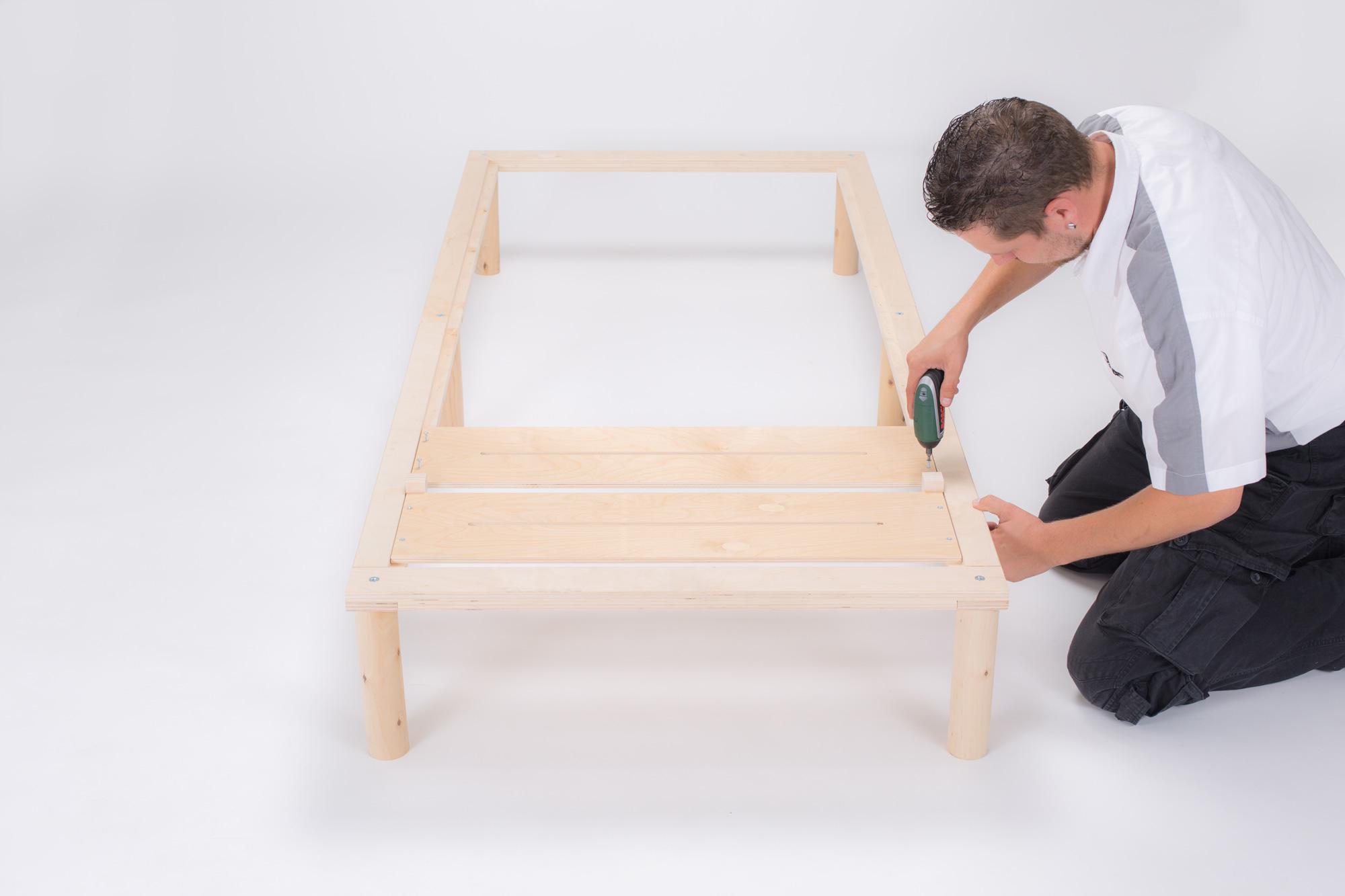 Gigapur G1 26974 Bett | Lattenrost und Bettgestell | Birke Natur Schicht-Holz | Bettrahmen belastbar bis 195Kg | 140 x 200 cm (2 x 70 x 200 cm)